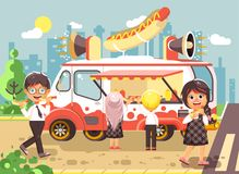 Vector illustration cartoon characters children, pupils, schoolboys and schoolgirls buy fast food, sandwiches, hot dogs Royalty Free Stock Photography