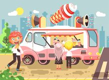 Vector illustration cartoon characters children, pupils, schoolboys and schoolgirls buy ice cream, vanilla, chocolate Stock Photos
