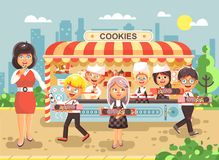 Vector illustration cartoon characters children, pupils, schoolboys and schoolgirls little business sale manufacture of Stock Image