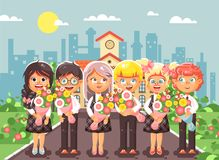 Vector illustration cartoon characters children schoolchildren classmates pupils students standing with bouquets flowers Royalty Free Stock Photos
