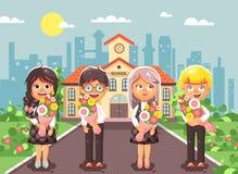 Vector illustration cartoon characters children schoolchildren classmates pupils students standing with bouquets flowers Stock Photos
