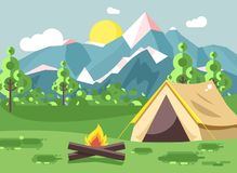 Vector illustration cartoon nature national park landscape with lonely tent camping hiking bonfire, open fire, bushes. Stock vector illustration cartoon nature Stock Photo