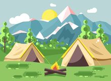 Vector illustration cartoon nature national park landscape with two tents camping hiking bonfire, open fire, bushes lawn. Stock vector illustration cartoon Royalty Free Stock Photos