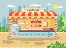 Vector illustration cartoon urban stall cooking business manufactures of baking cookies for sale, shelves with cupcakes. Stock vector illustration cartoon urban Stock Images