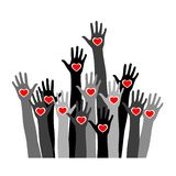 Volunteer concept with hands of different skin tones with heart in palms. Stock vector illustration for charity, humanity, race issues, teamwork, international vector illustration