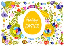 Flyer brochure banner with inscription typography Happy Easter on colored yellow egg Royalty Free Stock Image