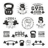 Stock vector illustration of gym club emblem. And design elements. Black print on white background Stock Image