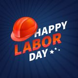 Stock vector illustration Happy Labor Day text banner, american patriotic square isolated on blue background. USA National Stock Photos