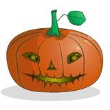 Cartoon pumpkin with a muzzle for Halloween vector illustration