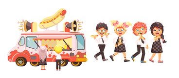 Vector illustration isolated characters children, pupils, schoolboys and schoolgirls buy fast food, sandwiches, hot dogs Stock Images