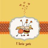 Stock Vector Illustration: love card with bees. Bee's love. Bees making big love . Art cartoon stock illustration