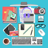 Stock Vector Illustration: Messy working table Stock Photography