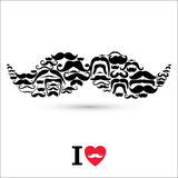 Stock Vector Illustration:Moustaches set. Design elements. Stock Photos