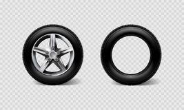Stock vector illustration realistic car wheels set tyre bus, truck isolated on transparent checkered background. EPS10 Stock Photo