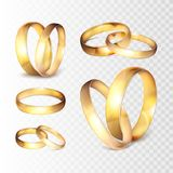 Stock vector illustration realistic gold wedding ring set Isolated on a transparent checkered background. EPS10 Stock Photo