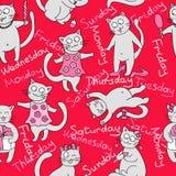 Stock Vector Illustration: seamless kittens. week Royalty Free Stock Photo