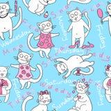 Stock Vector Illustration: seamless kittens. week. Stock Photos