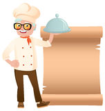 Stock vector illustration of a senior chef with dish hand on the banner Stock Photo