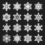 Stock vector illustration snowflakes set. Black background. White complex snowflakes set 16. EPS10. Stock vector illustration snowflakes set. Black background Vector Illustration