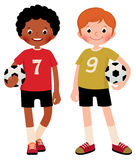 Stock vector illustration of two children boys football players Royalty Free Stock Images