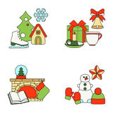 Stock vector illustration of winter and Christmas elements Royalty Free Stock Photo