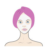 Stock vector illustration of a woman with facial Royalty Free Stock Images