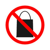 Stock vector of no bag Prohibition for bringing packet bag. Don`t bring anything.  Stock Photography