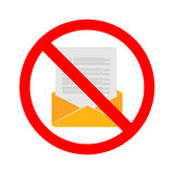 Stock vector of no email. Prohibition for sending email. No communication by email Stock Image