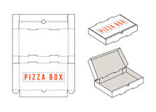 Stock vector rectangular box for pizza slices. Unwrapped and 3d image Royalty Free Stock Photos