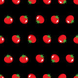 Stock Vector red tomato pattern on black background wallpaper Royalty Free Stock Image