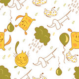 Stock vector seamless pattern of dogs and cats with rain clouds. And balloons Stock Photo
