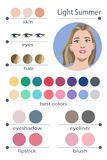 Stock vector seasonal color analysis palette for light summer. Best makeup colors for light summer type of female appearance. Stock Photos