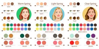 Seasonal color analysis palette for light, warm and clear spring. Best colors for spring type of female appearance. F. Stock vector seasonal color analysis vector illustration
