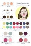 Stock vector seasonal color analysis palette for soft summer. Best makeup colors for soft summer type of female appearance. Royalty Free Stock Photo