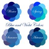 Seasonal color analysis palettes with blue and violet colors for Winter, Spring, Summer, Autumn. Stock vector seasonal color analysis palettes with blue and royalty free illustration