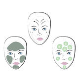Stock vector set of faces. With cosmetic mask and massage lines Royalty Free Stock Photo