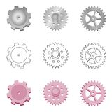 Stock vector set of various steel gears on white background royalty free illustration