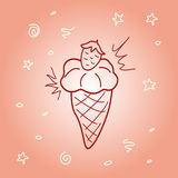 Stock vector strawberry ice cream doodle Royalty Free Stock Photography