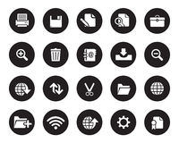Stock Vector white rounded web and office icons on black circle. Stock Photos