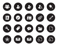 Stock Vector white rounded web and office icons on black circle. Royalty Free Stock Images