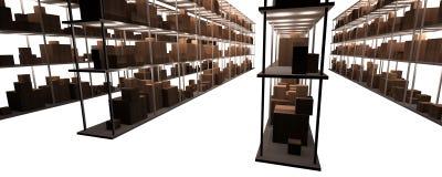 Stock and warehouse shelves Royalty Free Stock Photo