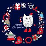 Stock  winter background with cartoon cat and, tree and gi Royalty Free Stock Photography