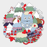 Stock  winter background with cartoon cat and, tree and gi Royalty Free Stock Photos