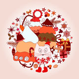Stock  winter background with cartoon cat and, tree and gi Royalty Free Stock Photo