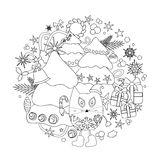 Stock  winter background with cartoon cat and, tree and gi Royalty Free Stock Images