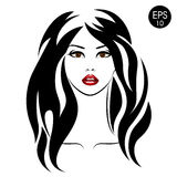 Stock Woman with black hair and red lips. Vector Portrait Royalty Free Stock Photo