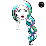 Stock Woman with braid. Beauty Girl Portrait with Colorful hair and Earrings. For your design stock illustration