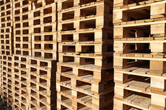 stock wood pallet under sun light Royalty Free Stock Photo