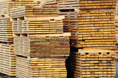 Stock of wood planks on the factory yard Stock Image