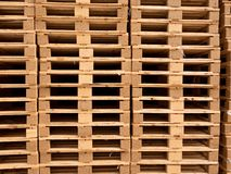 Stock of wooden euro pallets at transportation company. Stock of new wooden euro pallets at transportation company Royalty Free Stock Image